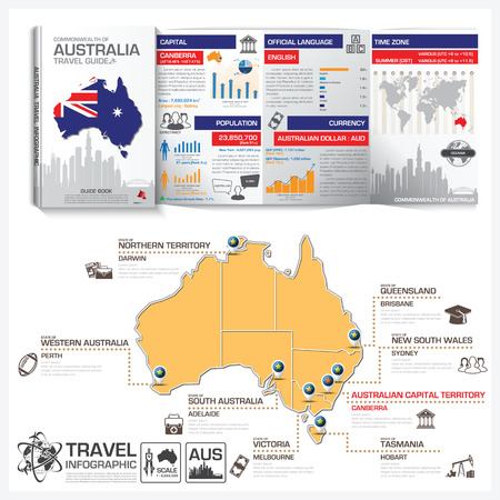 travel guide: Commonwealth Of Australia Travel Guide Book Business Infographic With Map Vector Design Template Illustration