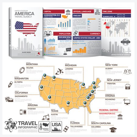 travel guide: United States Of America Travel Guide Book Business Infographic With Map Vector Design Template