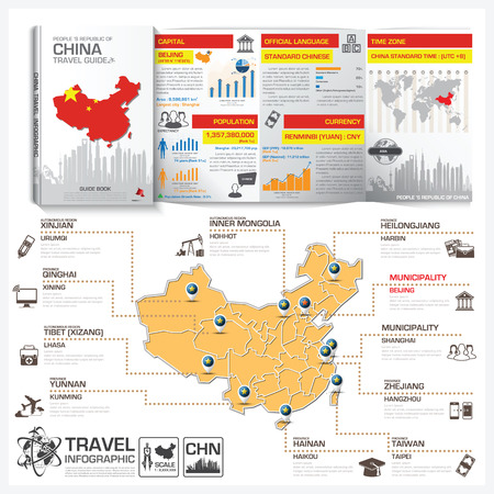 china business: People 's Republic Of China Travel Guide Book Business Infographic With Map Vector Design Template
