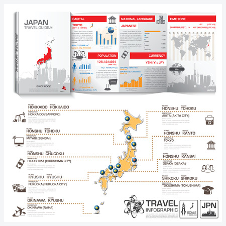 Japan Travel Guide Book Business Infographic With Map Vector Design Template 일러스트
