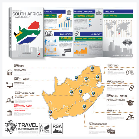 Republic Of South Africa Travel Guide Book Business Infographic With Map Vector Design Template