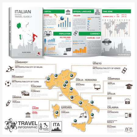 travel guide: Italian Republic Travel Guide Book Business Infographic With Map Vector Design Template Illustration