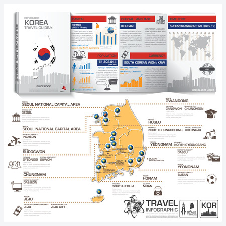korea map: Republic Of Korea Travel Guide Book Business Infographic With Map Vector Design Template