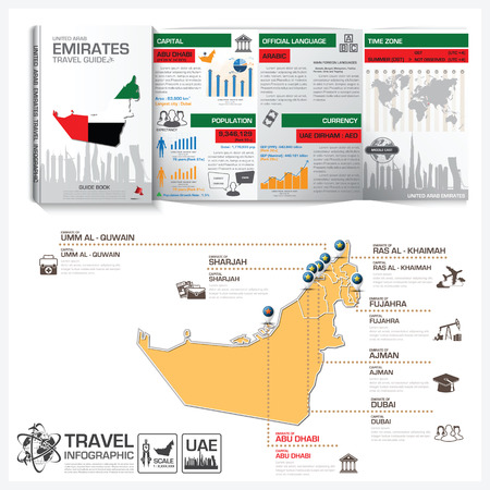 travel guide: United Arab Emirates Travel Guide Book Business Infographic With Map Vector Design Template Illustration
