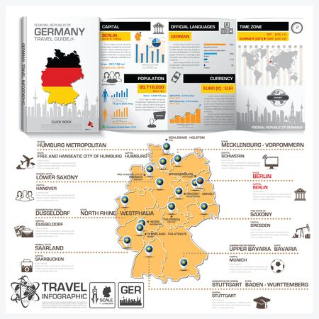 travel guide: Federal Republic Of Germany Travel Guide Book Business Infographic With Map Vector Design Template Illustration