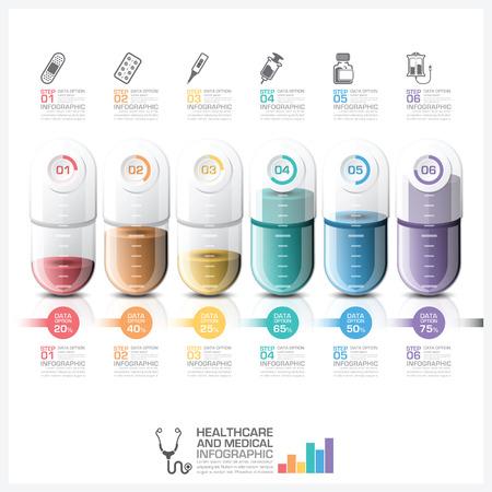 equipos medicos: Asistencia sanitaria y medicina Infografía Con La Píldora Cápsula Cronología Paso Diagrama vectorial plantilla de diseño
