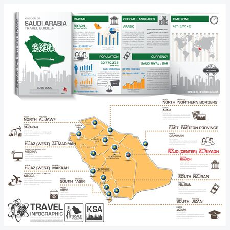 travel guide: Kingdom Of Saudi Arabia Travel Guide Book Business Infographic With Map Vector Design Template