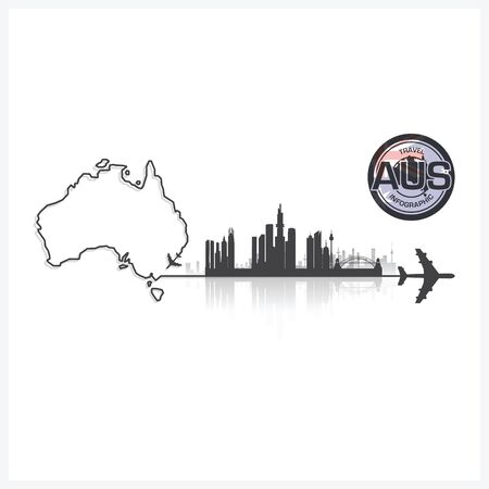 commonwealth: Commonwealth Of Australia Skyline Buildings Silhouette Background Vector Design Template Illustration