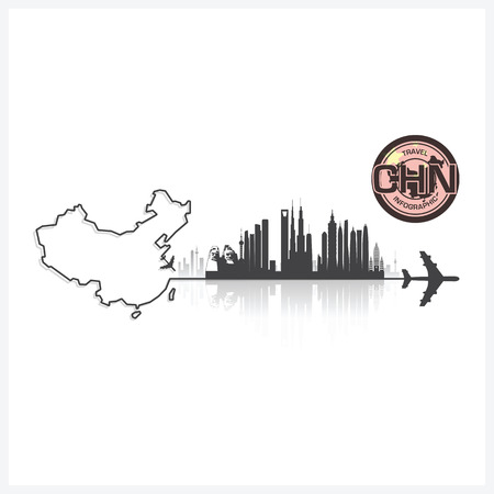 china business: China Skyline Buildings Silhouette Background Vector Design Template Illustration