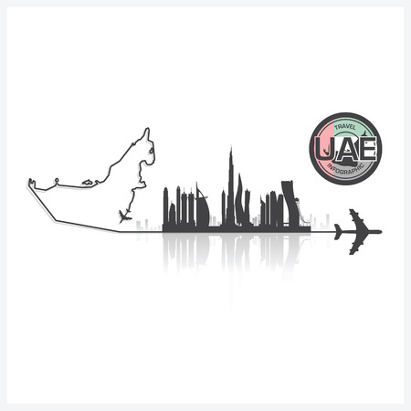 united arab emirate: United Arab Emirate Skyline Buildings Silhouette Background Vector Design Template