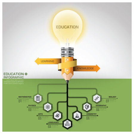 Education And Learning Subject Tree Root Step Infographic Diagram Vector Design Template