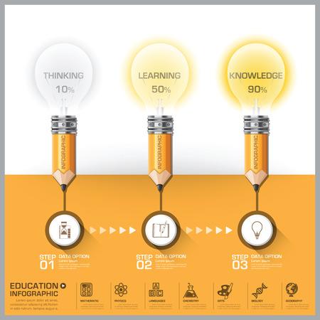 전구 단계도 인포 그래픽 벡터 디자인 템플릿과 함께 교육 및 학습 연필
