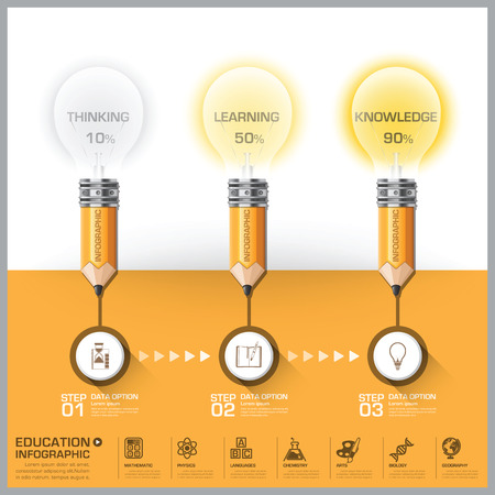 Education And Learning Pencil With Light Bulb Step Diagram Infographic Vector Design Template