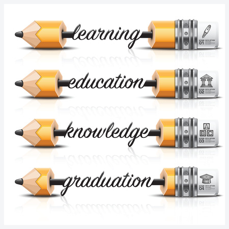 crave: Education And Learning With Carve Lead Pencil Step Infographic Diagram Vector Design Template