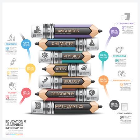 sujeto: Educaci�n y el aprendizaje Asunto L�piz Paso Infograf�a Diagrama vectorial plantilla de dise�o