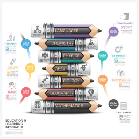 subject: Education And Learning Subject Pencil Step Infographic Diagram Vector Design Template Illustration