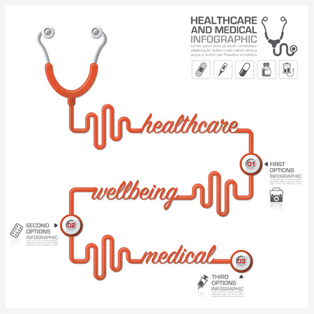hygene: Healthcare And Medical Infographic With Stethoscope Timeline Diagram Vector Design Template
