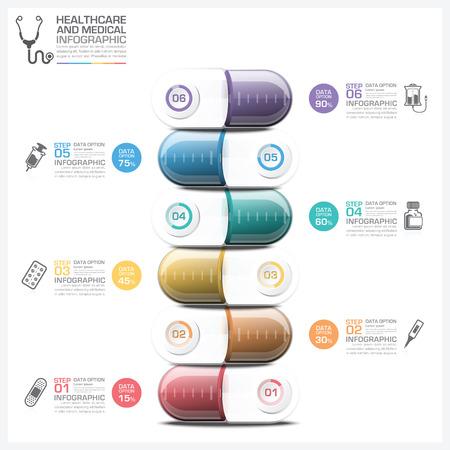 알약 캡슐 단계 다이어그램 벡터 디자인 템플릿 의료 및 의료 인포 그래픽 일러스트