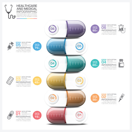 Healthcare And Medical Infographic With Pill Capsule Step Diagram Vector Design Template Çizim