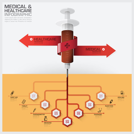medical icons: Healthcare And Medical Infographic With Bind Spiral Tag Tree Root Syringe Diagram Vector Design Template