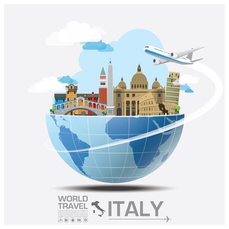 旅遊: 意大利標全球旅行和行程信息圖表矢量設計模板