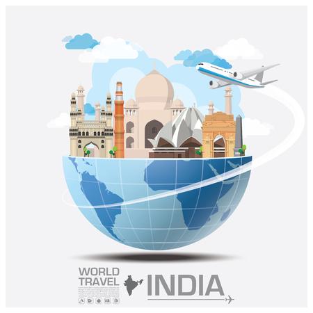 여행: 인도의 랜드 마크 글로벌 여행 및 여행 인포 그래픽 벡터 디자인 템플릿