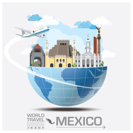 Meico ランドマークの世界旅行と旅インフォ グラフィック ベクトルのデザイン テンプレート  イラスト・ベクター素材