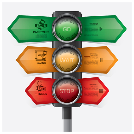 red  light: Business And Financial With Traffic Light Sign Infographic Diagram Vector Design Template
