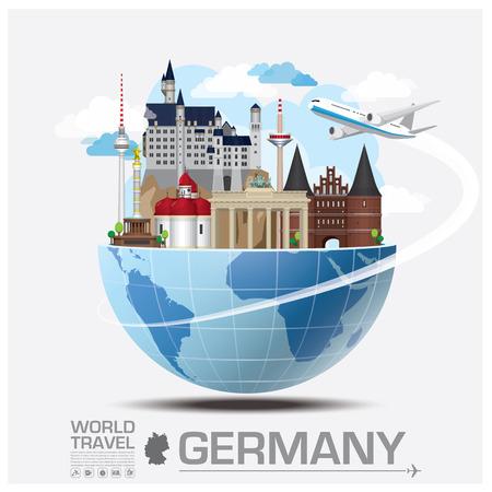 독일 랜드 마크 글로벌 여행 및 여행 인포 그래픽 벡터 디자인 템플릿 일러스트