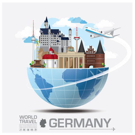 Germany Landmark Global Travel And Journey Infographic Vector Design Template Çizim
