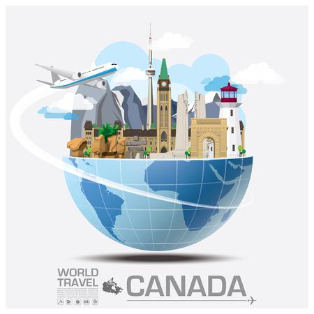 旅行: カナダのランドマークの世界旅行と旅インフォ グラフィック ベクトルのデザイン テンプレート