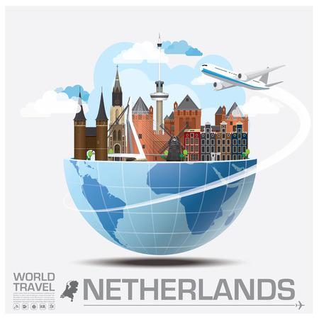オランダ ランドマーク世界旅行と旅インフォ グラフィック ベクトルのデザイン テンプレート