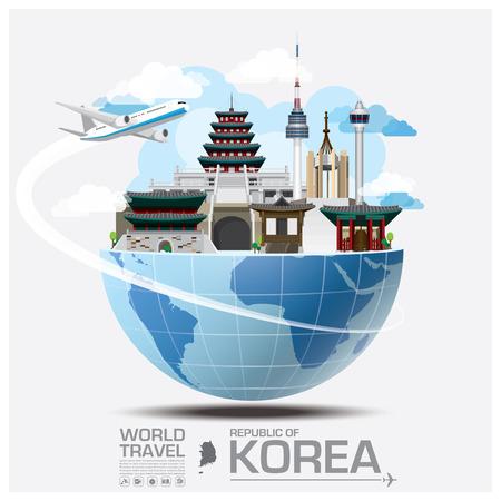 대한민국 랜드 마크의 글로벌 여행 및 여행 인포 그래픽 벡터 디자인 템플릿 일러스트