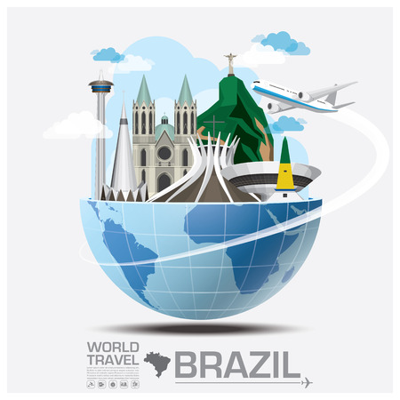 illustration journey: Brazil Landmark Global Travel And Journey Infographic Vector Design Template