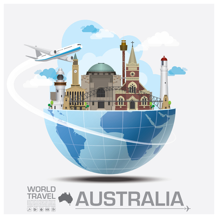 旅行: オーストラリアのランドマークの世界旅行と旅インフォ グラフィック ベクトルのデザイン テンプレート  イラスト・ベクター素材