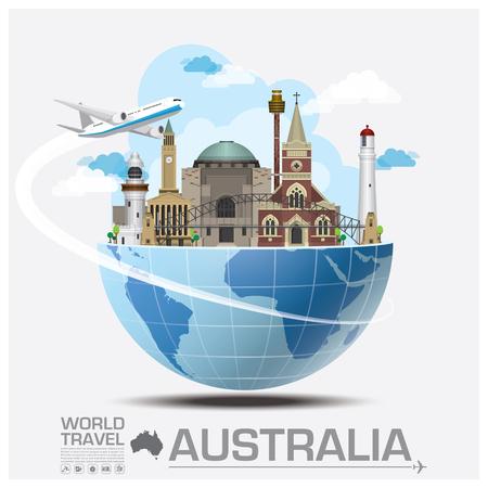 여행: 호주의 랜드 마크 글로벌 여행 및 여행 인포 그래픽 벡터 디자인 템플릿 일러스트