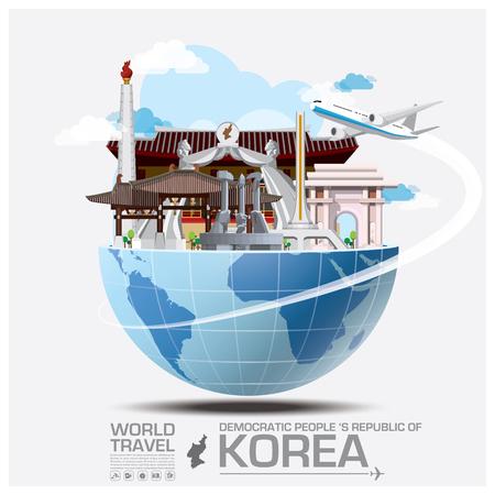 여행: 민주주의 인민 공화국 랜드 마크의 글로벌 여행 및 여행 인포 그래픽 벡터 디자인 템플릿