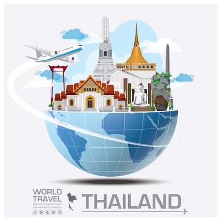 旅行: 泰國地標全球旅行和行程信息圖表矢量設計模板