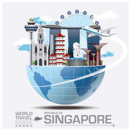 여행: 싱가포르 랜드 마크 글로벌 여행 및 여행 인포 그래픽 벡터 디자인 템플릿