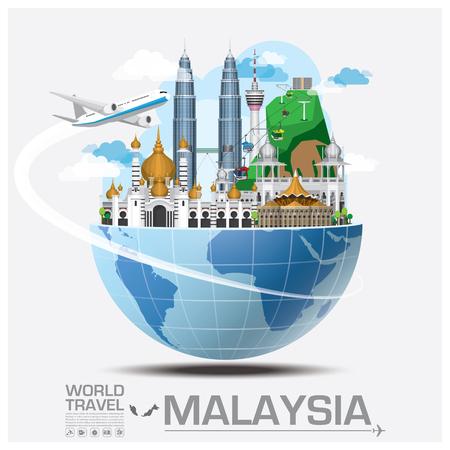 旅行: 馬來西亞地標全球旅行和行程信息圖表矢量設計模板