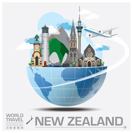 旅行: ニュージーランドのランドマークの世界旅行と旅インフォ グラフィック ベクトルのデザイン テンプレート