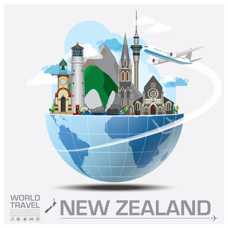 world flag: New Zealand Landmark Global Travel And Journey Infographic Vector Design Template
