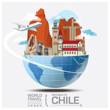 bandera de chile: Chile Landmark Global Travel And Viaje Infografía vector plantilla de diseño Vectores