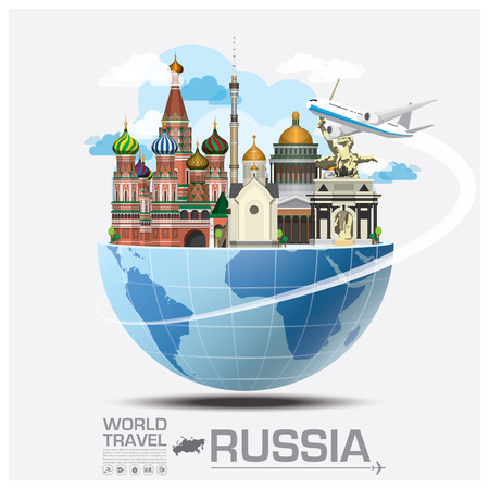 rusia bandera: Rusia Landmark Global Travel And Viaje Infografía vector plantilla de diseño
