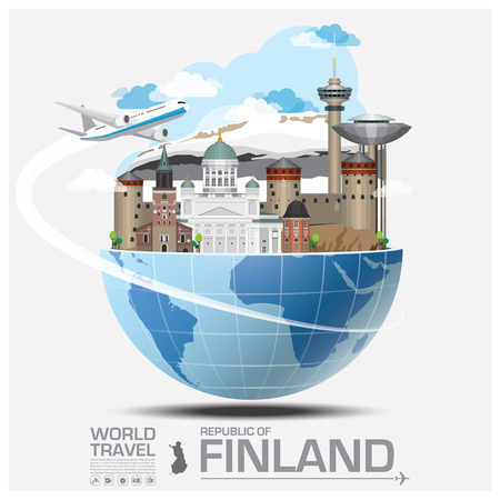 world maps: Finland Landmark Global Travel And Journey Infographic Vector Design Template Illustration