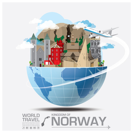 illustration journey: Norway Landmark Global Travel And Journey Infographic Vector Design Template