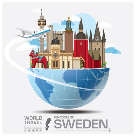 путешествие: Швеция достопримечательность Global Travel и путешествия инфографики векторный дизайн шаблона