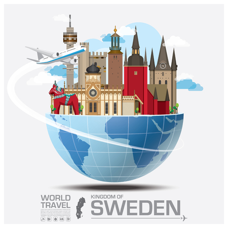 Sweden Landmark Global Travel And Journey Infographic Vector Design Template