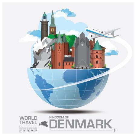 путешествие: Дания Landmark Global Travel и путешествия инфографики Вектор шаблон дизайна Иллюстрация