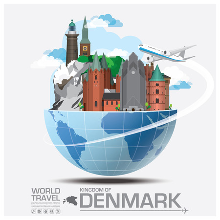 デンマークのランドマークの世界旅行と旅インフォ グラフィック ベクトルのデザイン テンプレート
